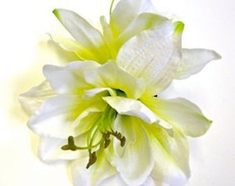 Large White Amaryllis hair flower. Rockabilly pin up hair accessory.