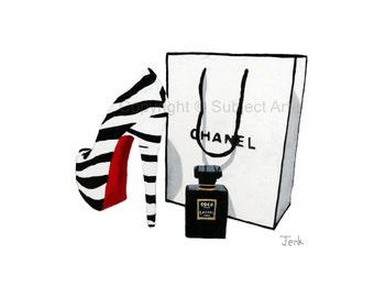 CHRISTIAN LOUBOUTIN Zebra Shoe, Chanel Bag, Chanel Noir Perfume Art Print, Fashion Gifts, Wall Art