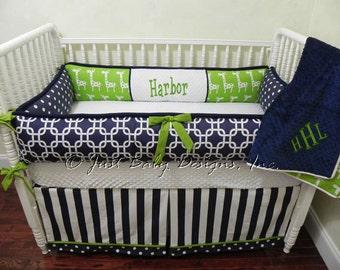 Custom Crib Bedding Set Tristan - Boy Baby Bedding, Navy and Lime Crib Bedding