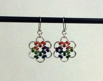 Rainbow Flower Earrings
