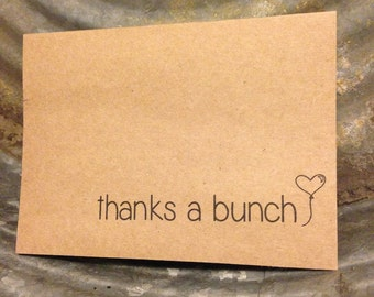 Set of 10 Kraft Stock Thank You Cards or Notes - thanks a bunch with envelopes, modern typography