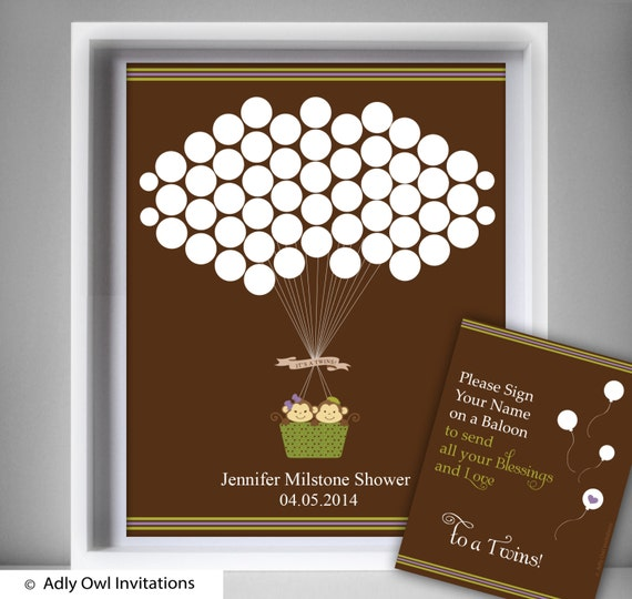 TWINS MONKEY Guest Book Alternative Printable for Baby Twins