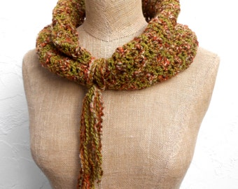 Hand Crocheted Cowl in Rust Brown and Moss