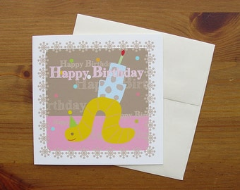 Handmade birthday card, caterpillar with Cake, set of four