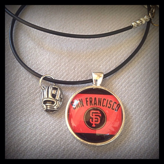 San francisco giants handmade necklace baseball glove charm for San francisco handmade jewelry