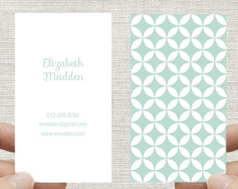 Business Card, Moroccan Geometric Circles. Printable Custom Digital Download DIY.