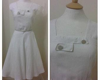 Reserved for Abby******1950s Linen Dress, White Summer
