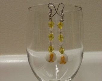 Yellow Ribbon Dangle Earrings