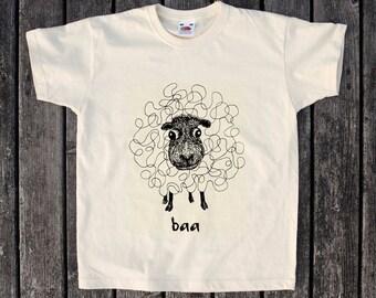 Kids T Shirt  - baa - Sheep - Animal - Farm -  Child - Fun