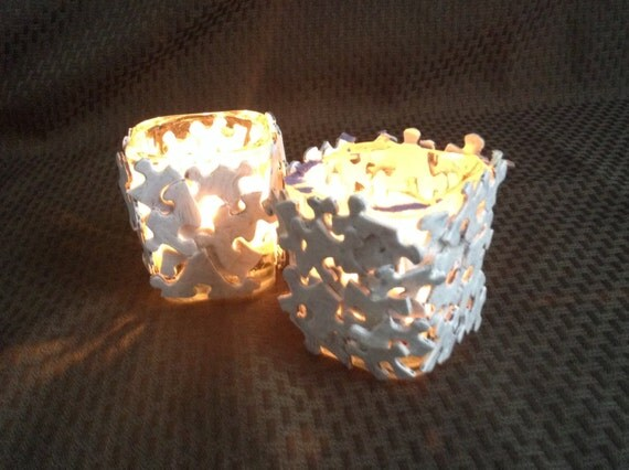 Items similar to candle holders made of glass and jigsaw