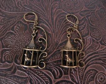 Bronze cage earrings