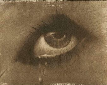 Eye, Tea toned cyanotype