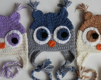Crochet Owl Earflap Animal Hat Toque Beanie Child Kids Teen Adult