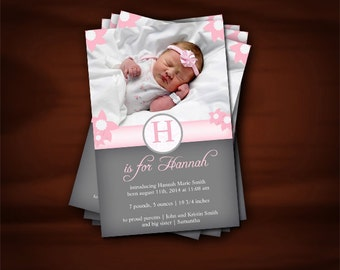 Soft Pink and Slate Gray Baby Announcement Cards Floral - 10 Cards with Envelopes
