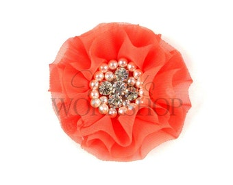 """Coral - Set of 3 Large 3"""" Chiffon Flowers with Pearl & Rhinestone Centers - LPR-014"""