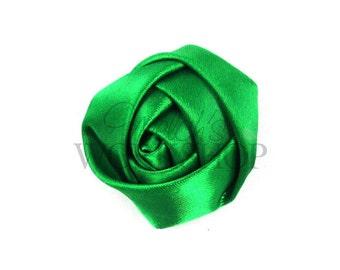 "Green - Set of 3 Mini 1.5"" Satin Rolled Rosettes - MSR-013"