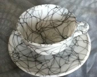 Hazel Atlas Milk Glass Tea Cup and Saucer