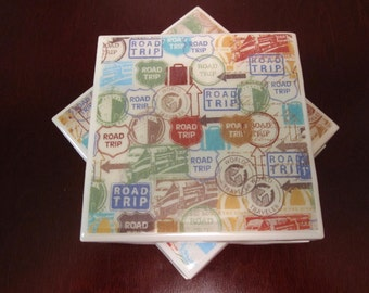 Ceramic Tile Resin Coaster Set: Road Trip (Set of 4)/sign coasters/road sign coasters/Resin Coaster/travel coasters