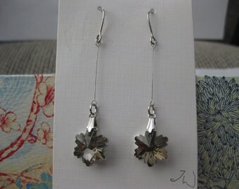 Gray Crystal Bead Silver Plated Earrings