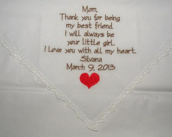 Embroidered Wedding Handkerchiefs Hankerchiefs Mother of the bride Mother in law By Napa Embroidery