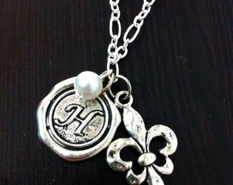 Pearl Initial Charm Necklace - Valentine's Day gift, Christmas gift, fleur de lis, pearl