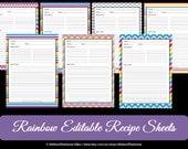EDITABLE - Printable Chevron Recipe Template - Recipe Card - Recipe Organisation - Recipe Box - Cooking Printable - Product number 411