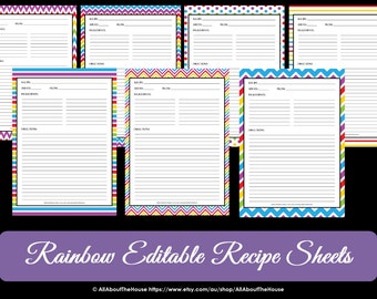 EDITABLE - Printable Chevron Recipe Template - Recipe Card - Recipe Organisation - Recipe Box - Cooking Printable - Product number 411