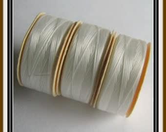 White Thread,  size D Nymo thread,  Nylon thread,  Seed Beading thread, Beadweaving Thread, Pack 3 Bobbins, Crafts, Sewing Thread, Item #360