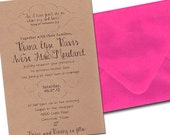 QTY. 50 Super Saver Wedding Invitation in Paper Bag with Fuschia Envelope  - printed in Brown Ink