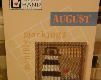AUGUST Cross Stitch Pattern Leaflet HH255 Heart in Hand 2008 Monthly Markings