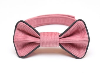 Pink boys bow tie with grey piping Rose quartz corduroy bow tie Baby and toddler bow tie