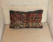 Handmade Antique Persian Karajeh Rug Pillow, Throw Pillow, Accent Pillow, Toss Pillow
