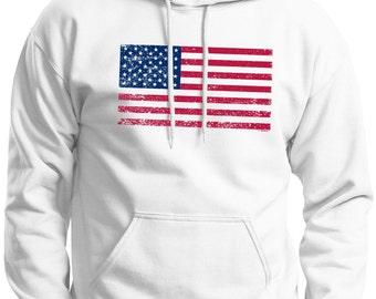 Tattered American Flag Hoodie  Sweatshirt 18500  - US-107