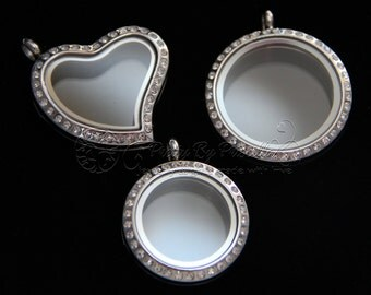 Wholesale Floating Locket Glass Memory Locket, Story Locket Silver with or without crystals - 25MM Medium, 30MM Large Stainless Steel