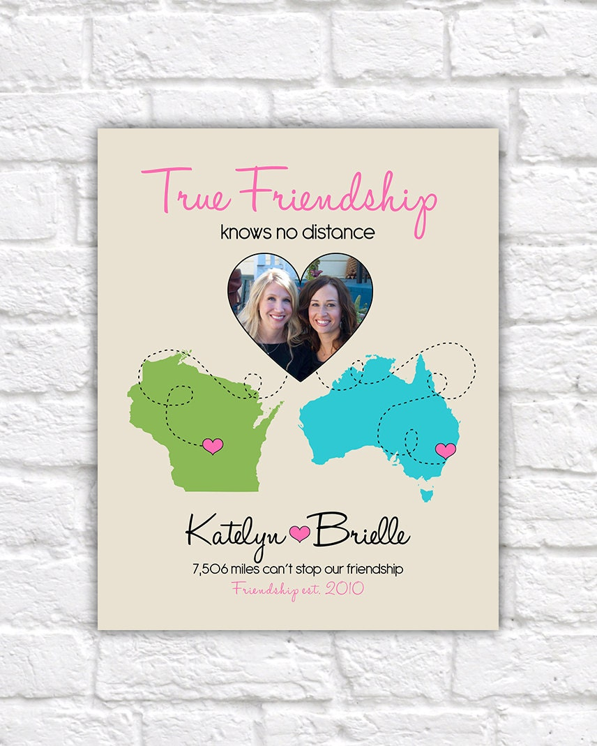 Quote About Distance And Friendship True Friendship Quote Gift For Best Friend  Custom Art Print