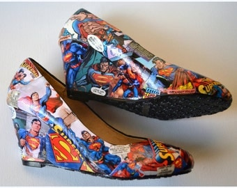 Custom Shoes, This Pair IS FOR SAL E, Womens Superman Shoes,Superman
