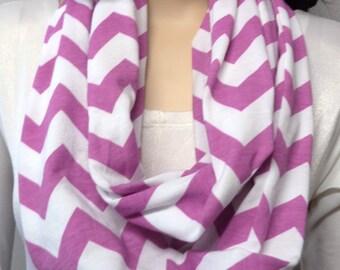 LILAC & White Chevron Print  Infinity Scarf  Jersey Knit