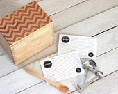 Heirloom Recipe Box and Cards - Chevron Pattern Design Wooden Engraved Recipe Card Holder With Recipe Cards