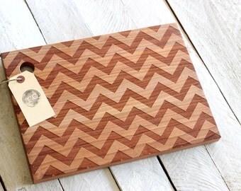 Chevron Pattern Wood Cutting Board