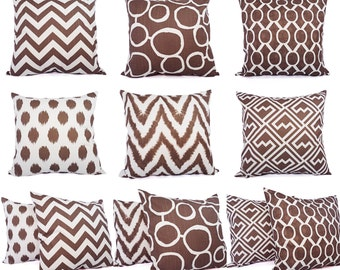 Two Brown and White Couch Pillow Covers - 20 x 20 Inch Brown Throw Pillow Covers - Decorative Pillow Cushion Cover Brown Pillows