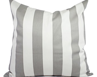 Two Grey and White Striped Decorative Throw Pillow Covers - 12x16 12x18 14x14 16x16 18x18 20x20 22x22 24x24 26x26 - Striped Pillow Cover