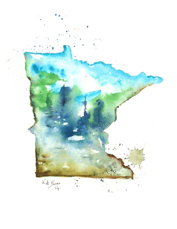 minnesota map print of watercolor by milkandhoneybread on etsy