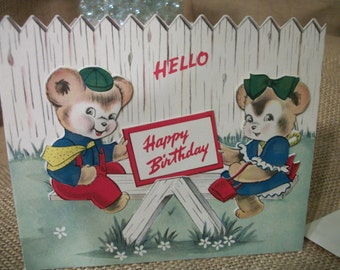 Vintage 1940s Full Color Childrens Happy Birthday Card