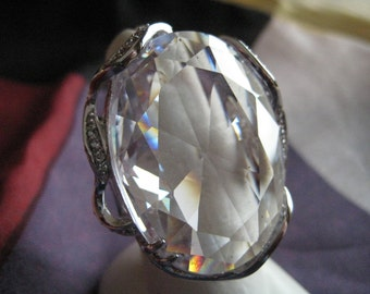 Vintage Silver Tone and Crystal Ring