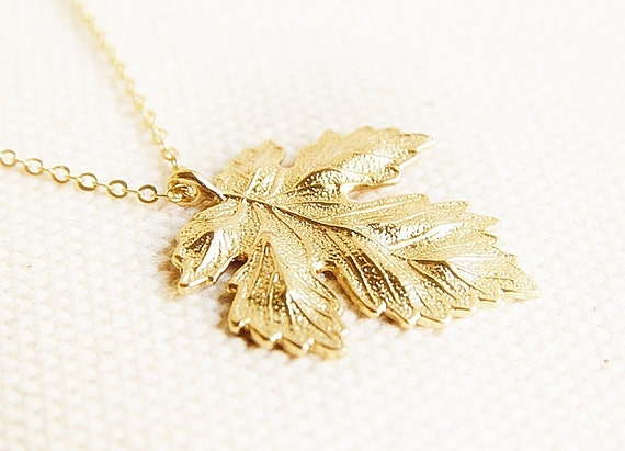 maple leaf necklace gold leaf pendant necklace autumn