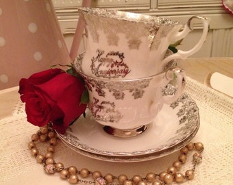 Vintage Royal Albert Happy Anniversary teacup and saucer.