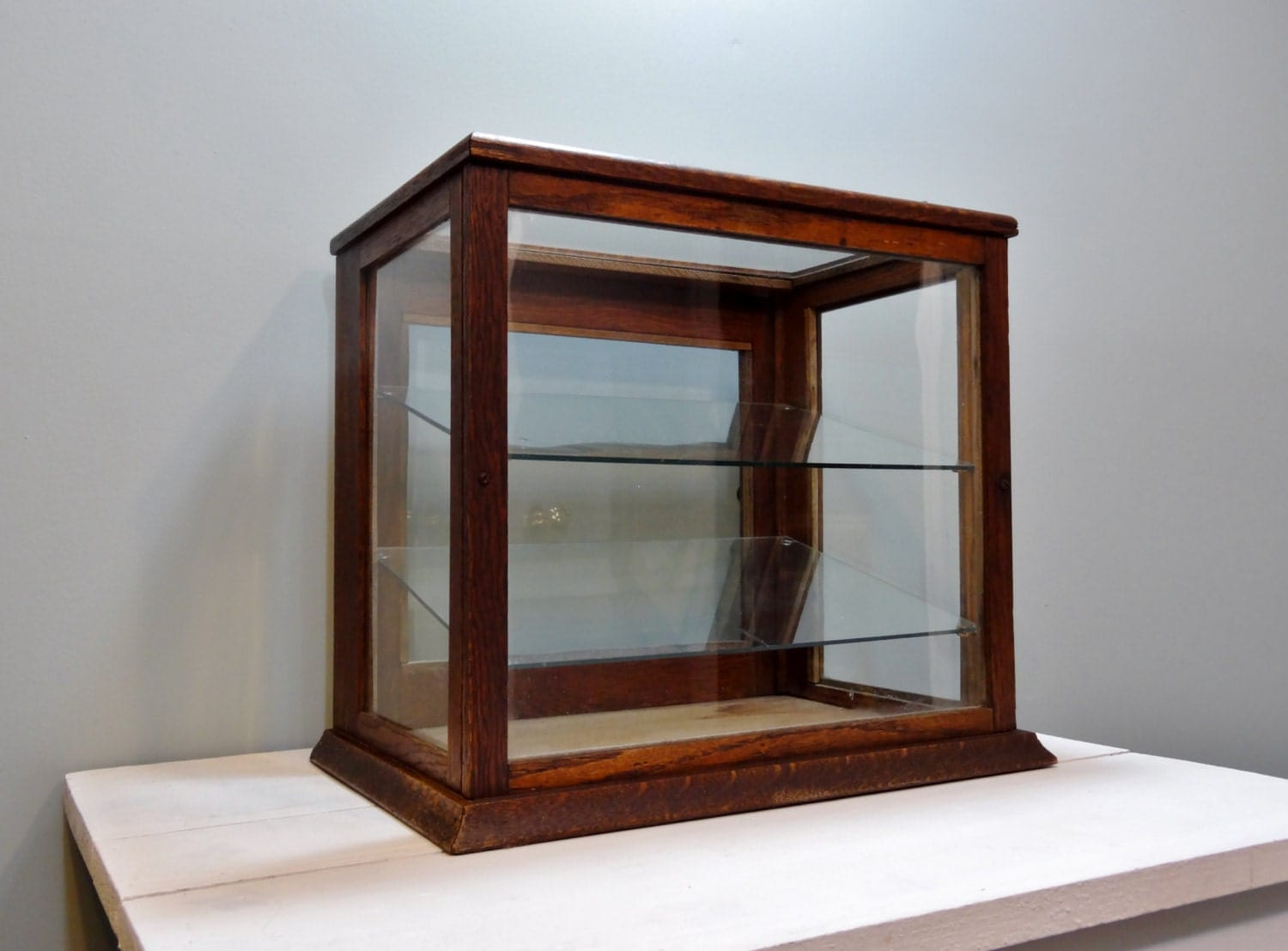 #653B25 Antique Wood General Store Glass Display Case By NewfoundFinds with 1500x1107 px of Brand New Glass Display Cabinets York 11071500 pic @ avoidforclosure.info