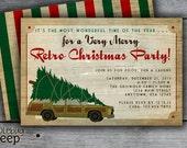 Station Wagon with Tree - Retro Holiday / Christmas Party Invitation - DIGITAL FILE