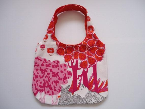 Katoenen Tas Roze : Herten tas met binnenvakken roze en oranje een knal