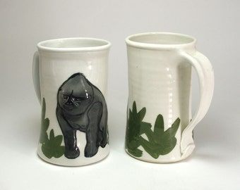 Porcelain Gorilla Mug Thrown Hand Made and Sculpted